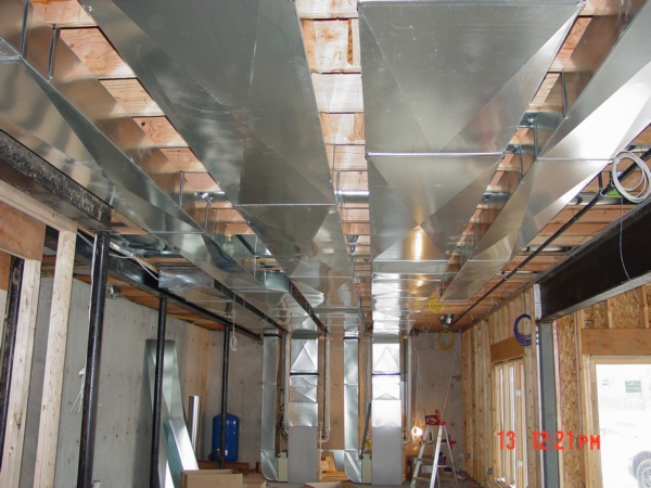 distributing systems of ductwork in basements basically are similar